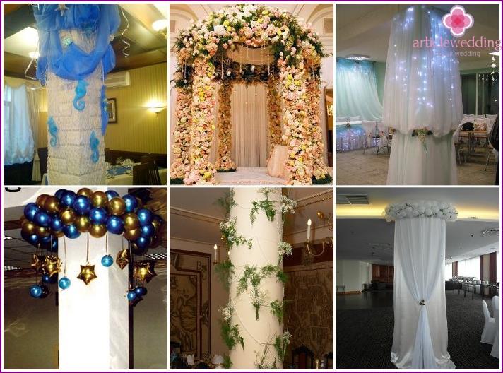 Ideen für die Dekoration von Säulen in einem Hochzeitsraum