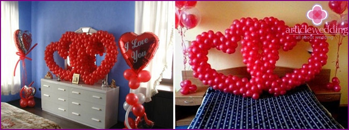 Decorating a newlywed room with balloons