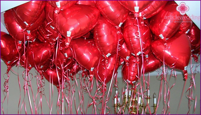 Heart-shaped foil balloons