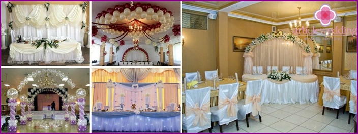 The color scheme of the wedding hall