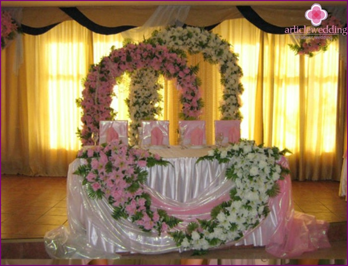 Wedding room decorated with flowers