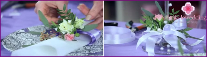 Fastening a bouquet to a napkin