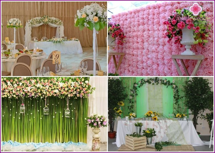 Decoration of the wedding hall with fresh flowers