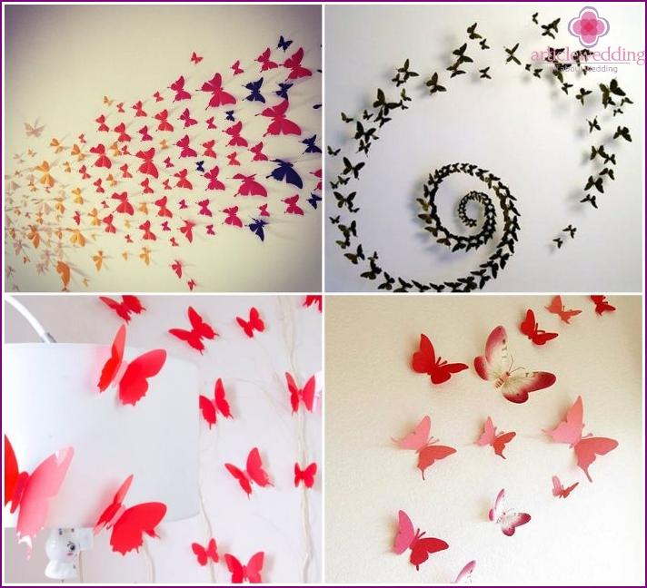 Paper volumetric butterflies for wall decor