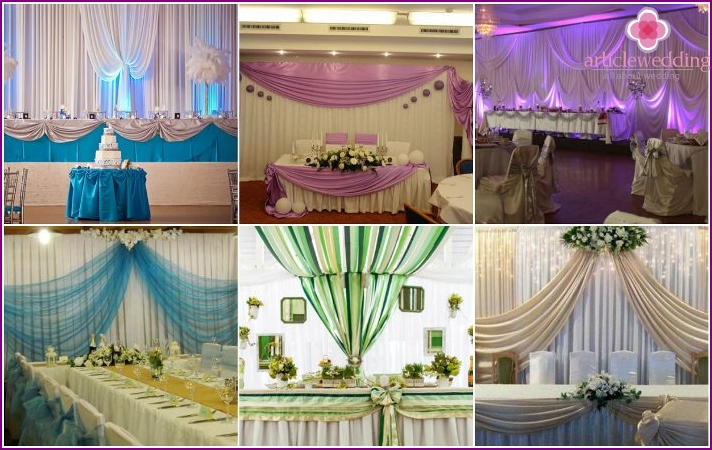 Drapery of the wedding hall with fabric