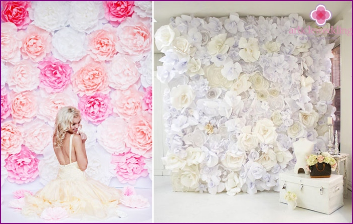 Paper flowers for decorating the wall for a wedding