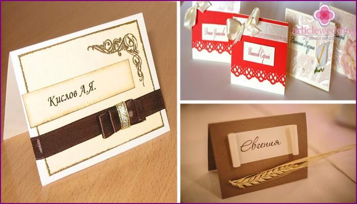 Seating cards for guests with a name