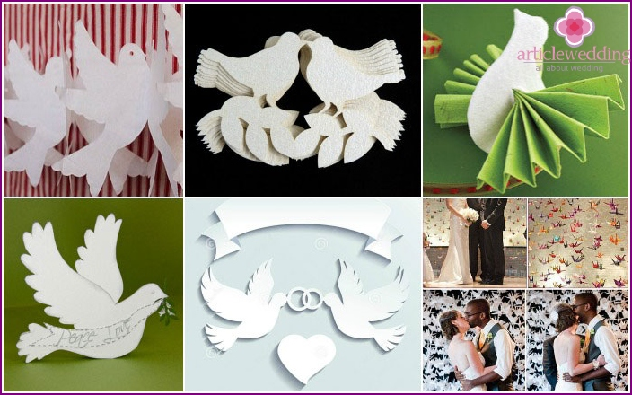 Paper doves for the wedding