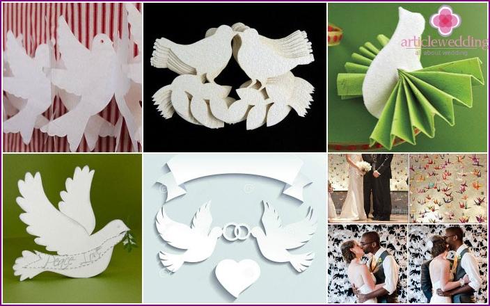 Papiertauben für die Hochzeit