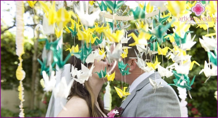 Origami paper cranes for a wedding