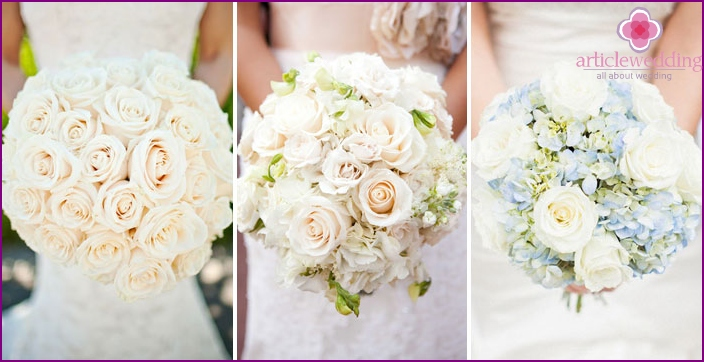 White roses in a wedding bouquet
