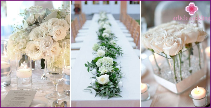 Decoration of wedding tables with white flowers