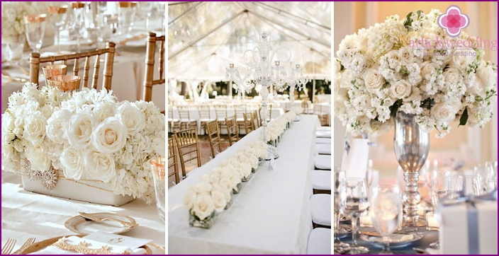 Decoration of wedding tables with white roses