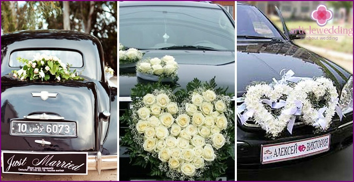Snow-white flowers in car decoration