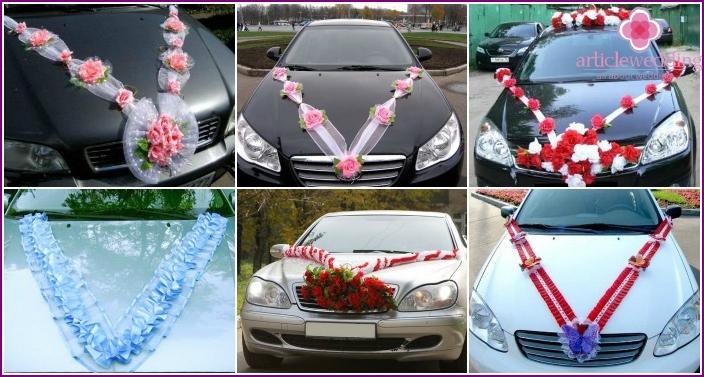V-shaped wedding car decoration with ribbons