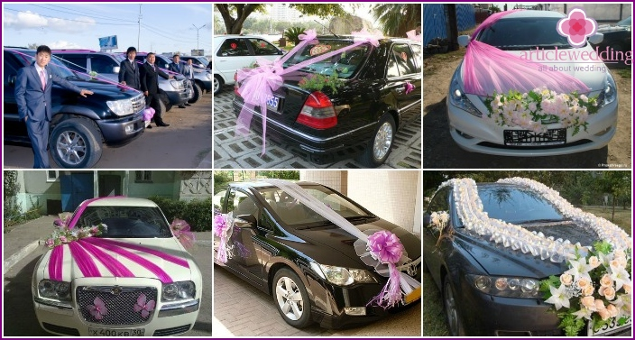 Decoration of the wedding car with fabric along the entire length