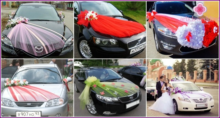 Decorating a wedding car with a veil diagonally