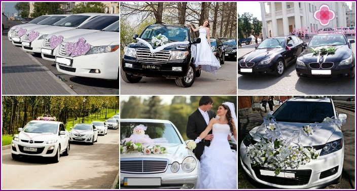 Decoration for a wedding car with cloth