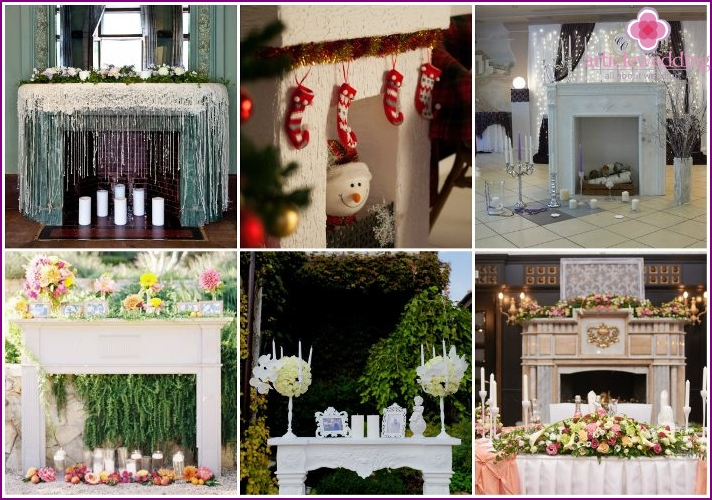 A fireplace instead of a classic wedding arch