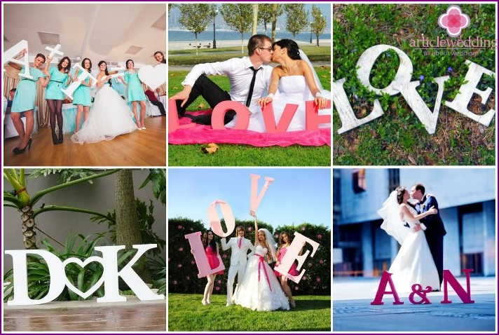 Large letters for the wedding background at the ceremony