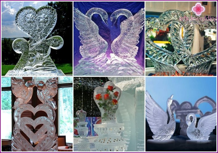 Ice sculptures in the form of a pair of swans or hearts