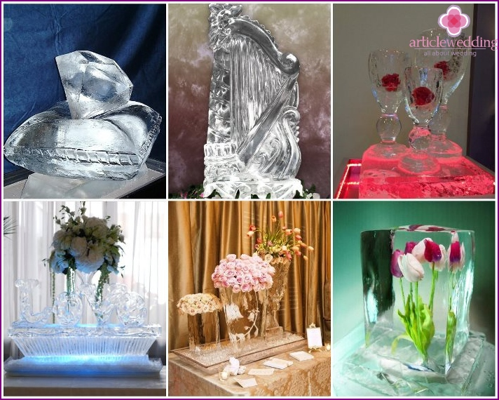 Ice sculptures for a wedding