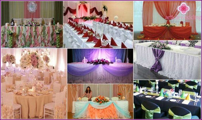 Fabric decoration of the wedding table