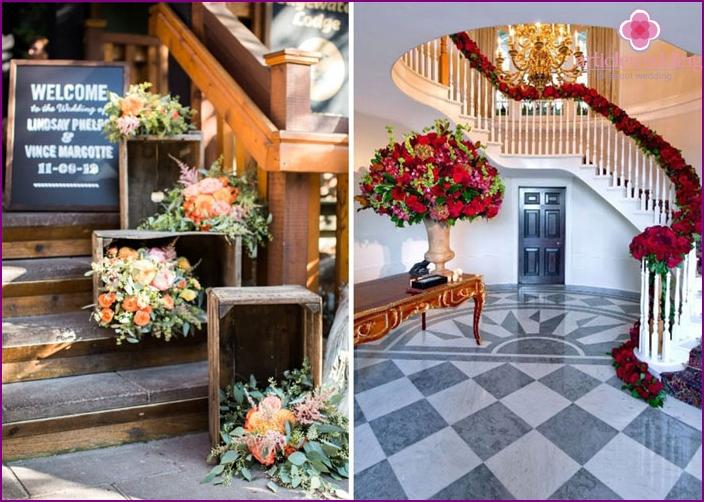 Bride porch decoration with flowers