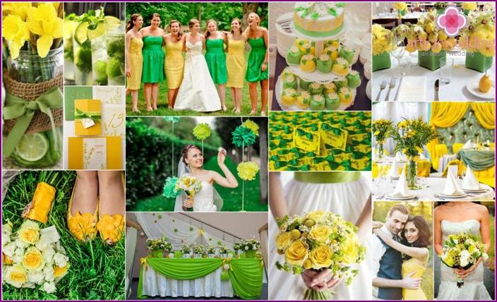 Green and yellow gamma at a wedding