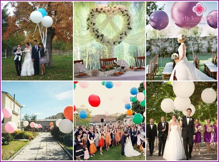 Balloons for an outdoor wedding