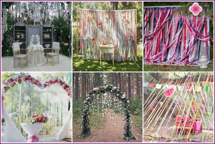 Ribbons for a wedding in the forest
