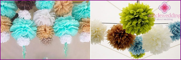 How to decorate a bride's house with pompons