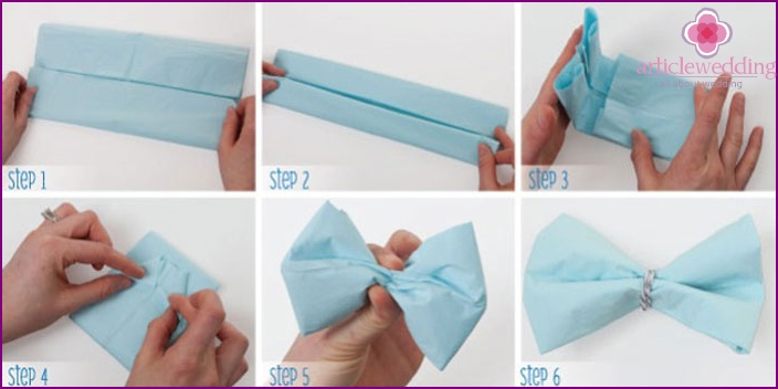 How to fold a wedding napkin with a bow tie