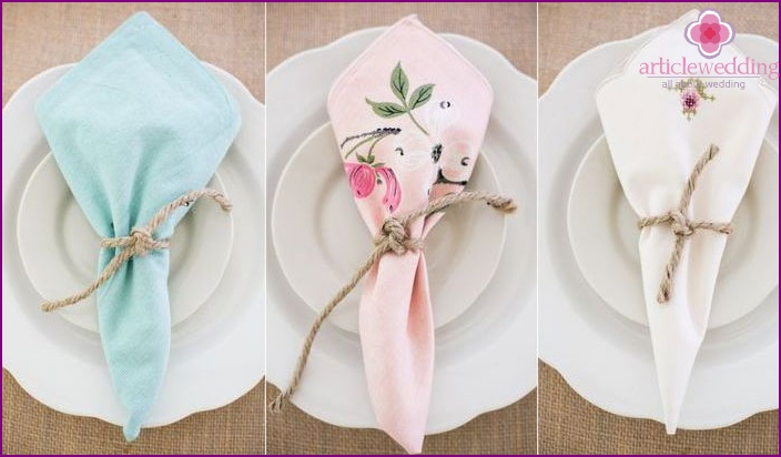 Ideas for folding wedding napkins