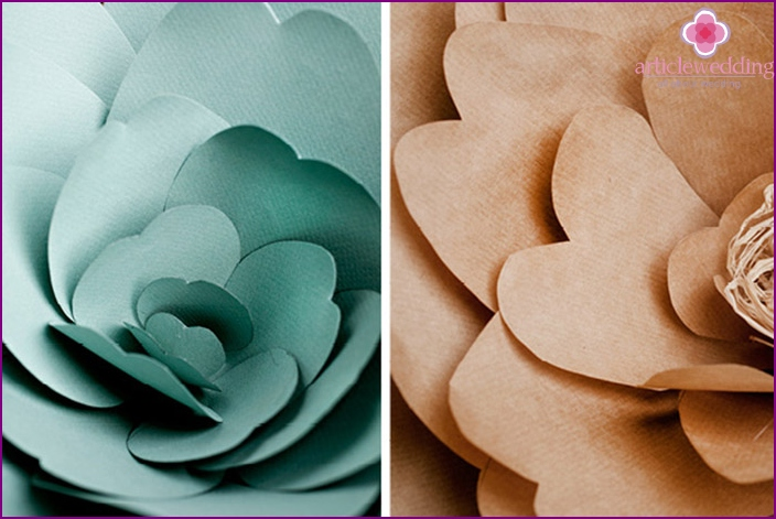 Paper flowers - a charming decor for a wedding