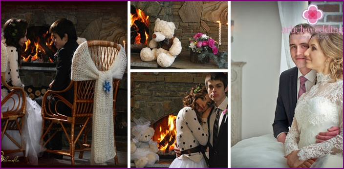 Winter wedding shots by the fireplace