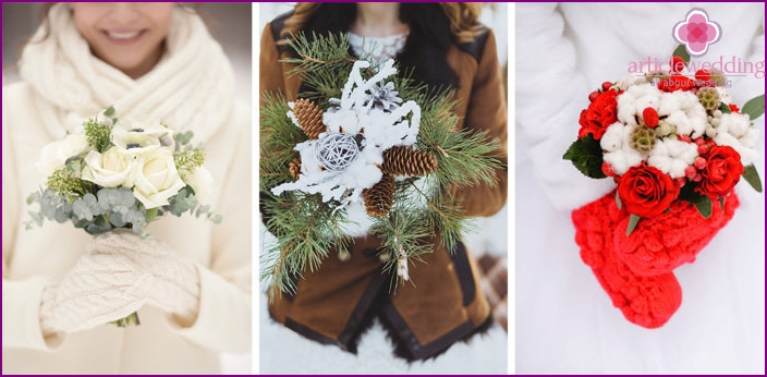 Bridal bouquet - an accessory for a winter photo shoot