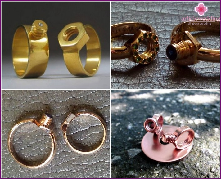 Rings for newlyweds Bolt and Nut