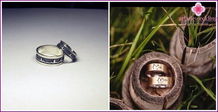 Cardiogram wedding rings