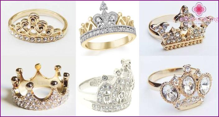 Gemstones in engagement ring crown