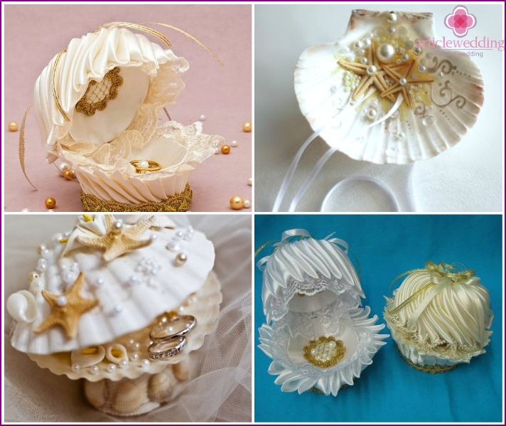 Wedding Shell Ring Holders