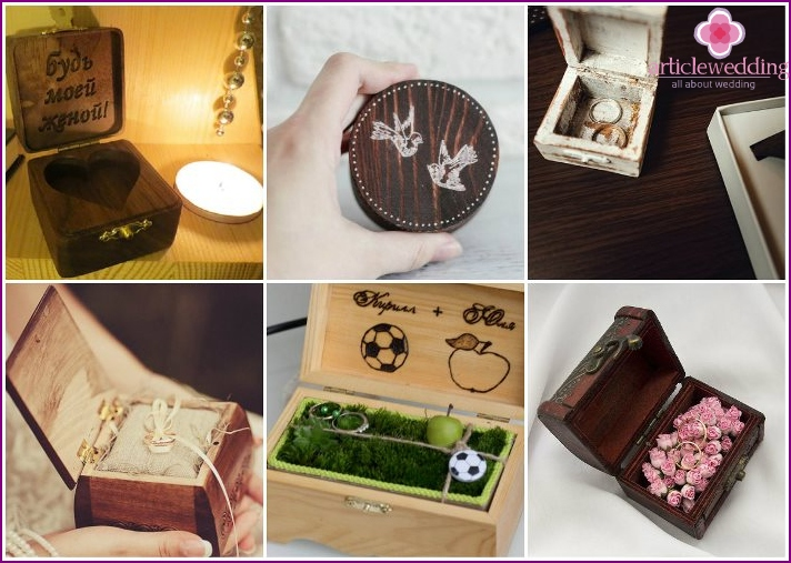 Wooden box for rings