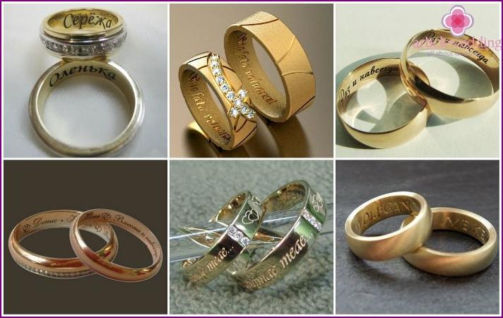 Wedding rings with original engraving