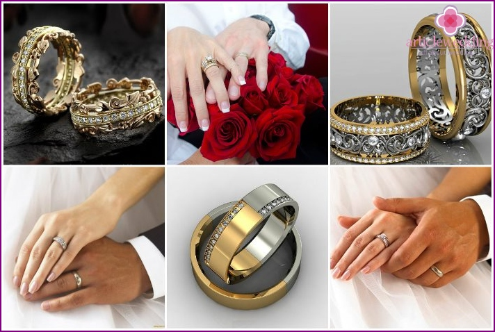 The combination of different metals in the rings of the newlyweds