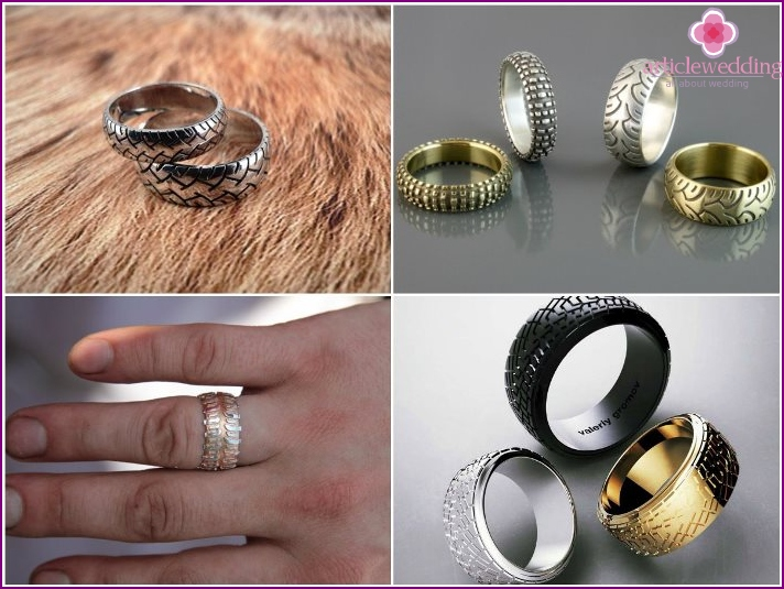 Wedding rings in the form of car tires.