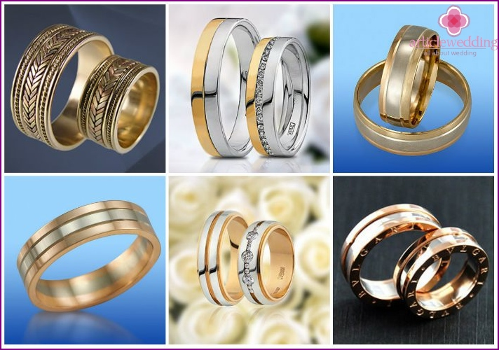 Wedding rings from several types of metals