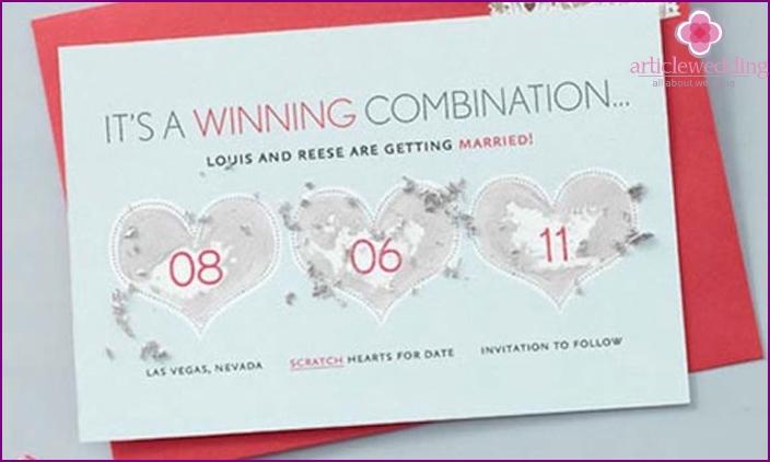 Lotterielos Hochzeitseinladung