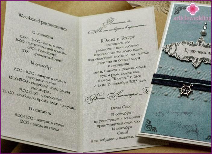 Sea-style wedding invitation