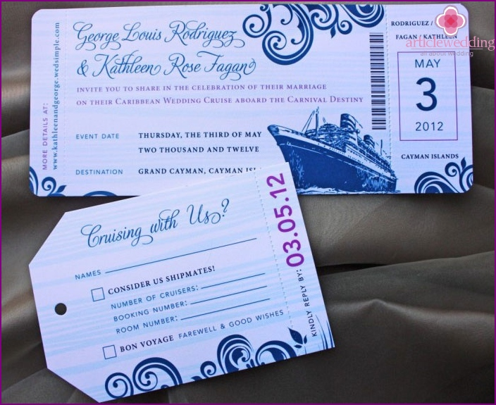Invitation ticket to the liner