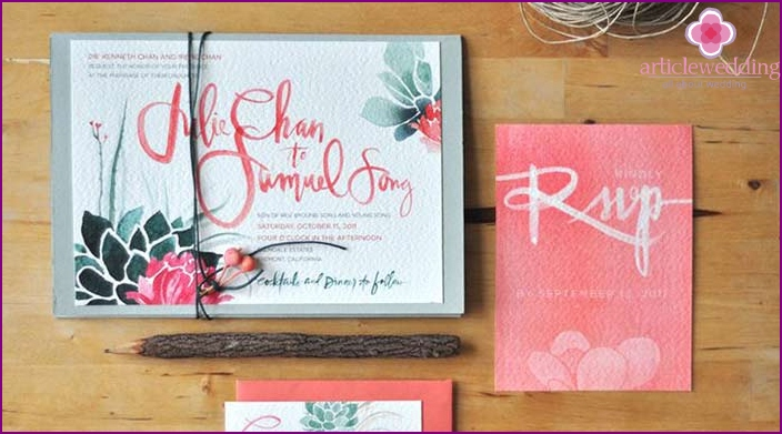 Original watercolor invitations for guests